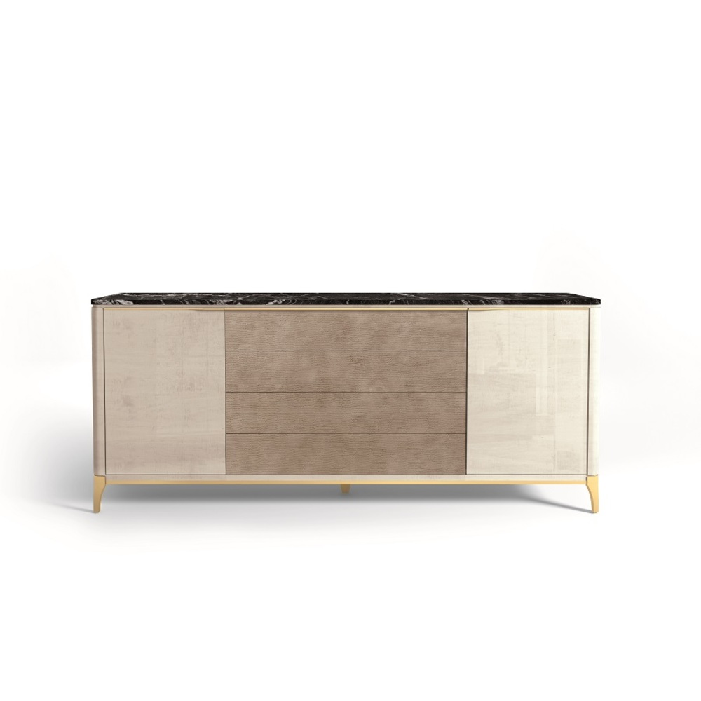 Hurtado - Soho Credenza with Marble & Leather Front