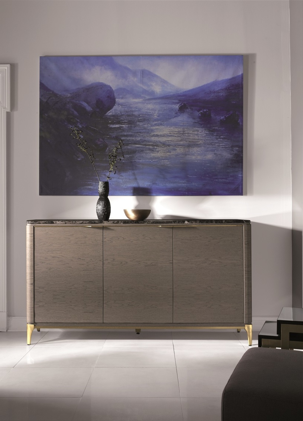 Hurtado - Soho Credenza with Wooden Top & Leather Front