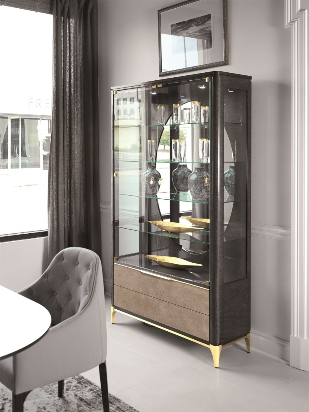 Hurtado - Soho Display Cabinet with Leather Front