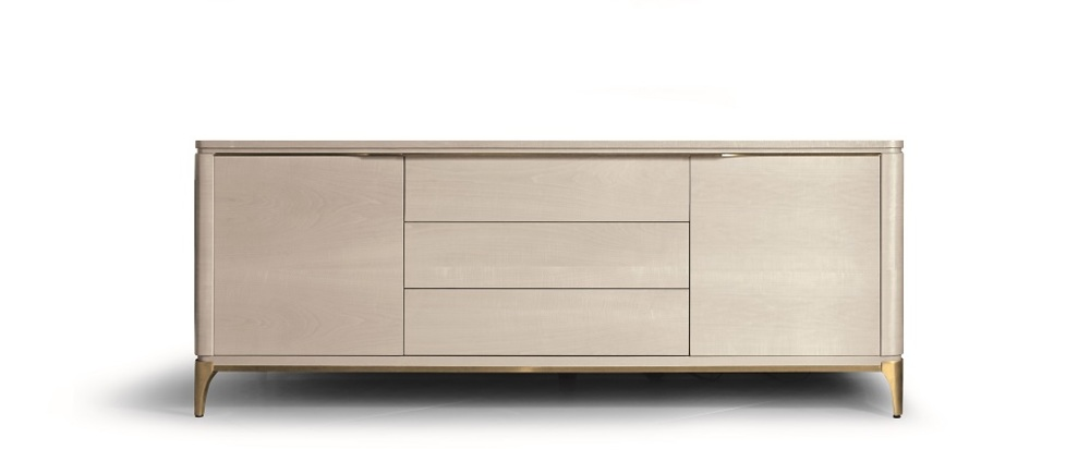 Hurtado - Soho Credenza with Wooden Top & Wooden Front