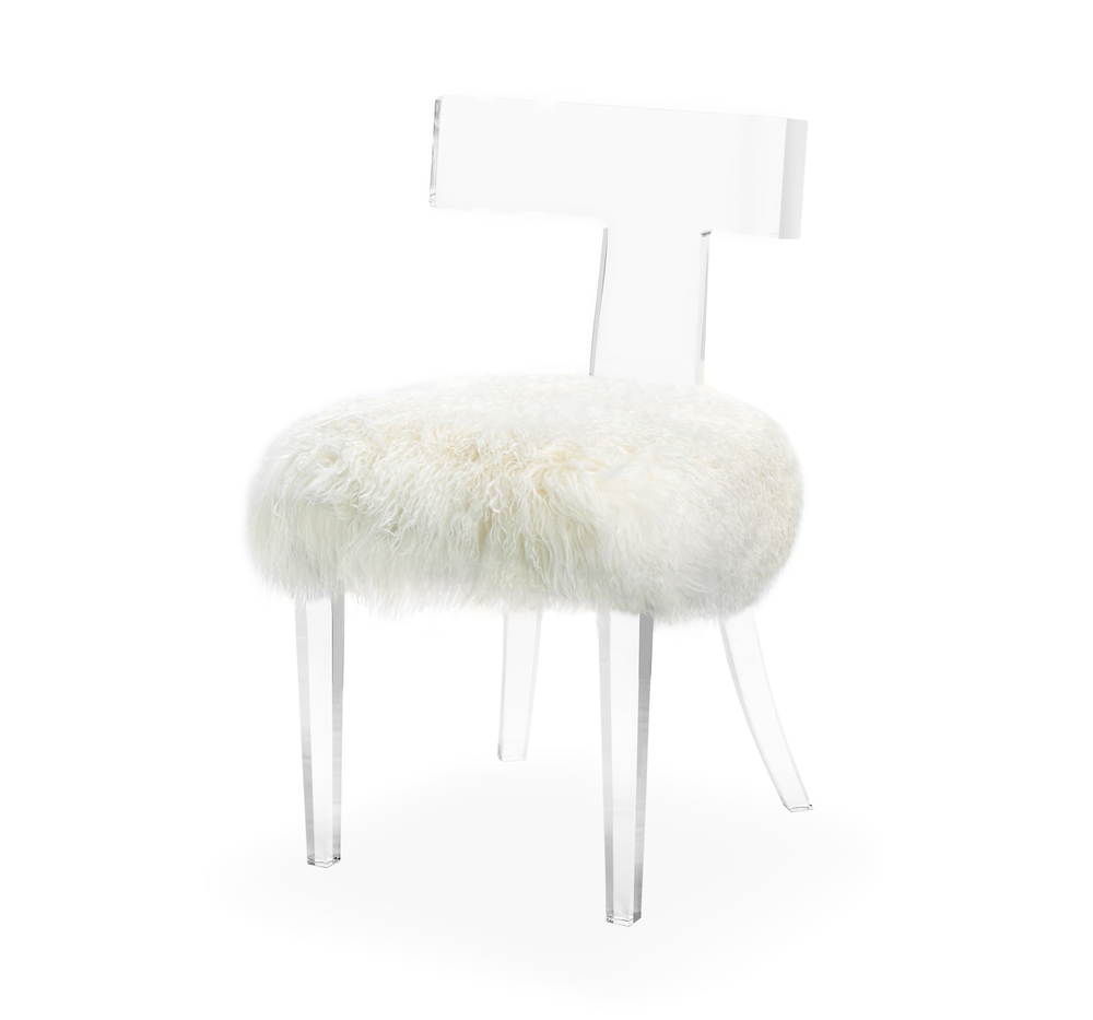 Interlude Home - Tristan Klismos Dining Chair, Ivory Sheep Skin