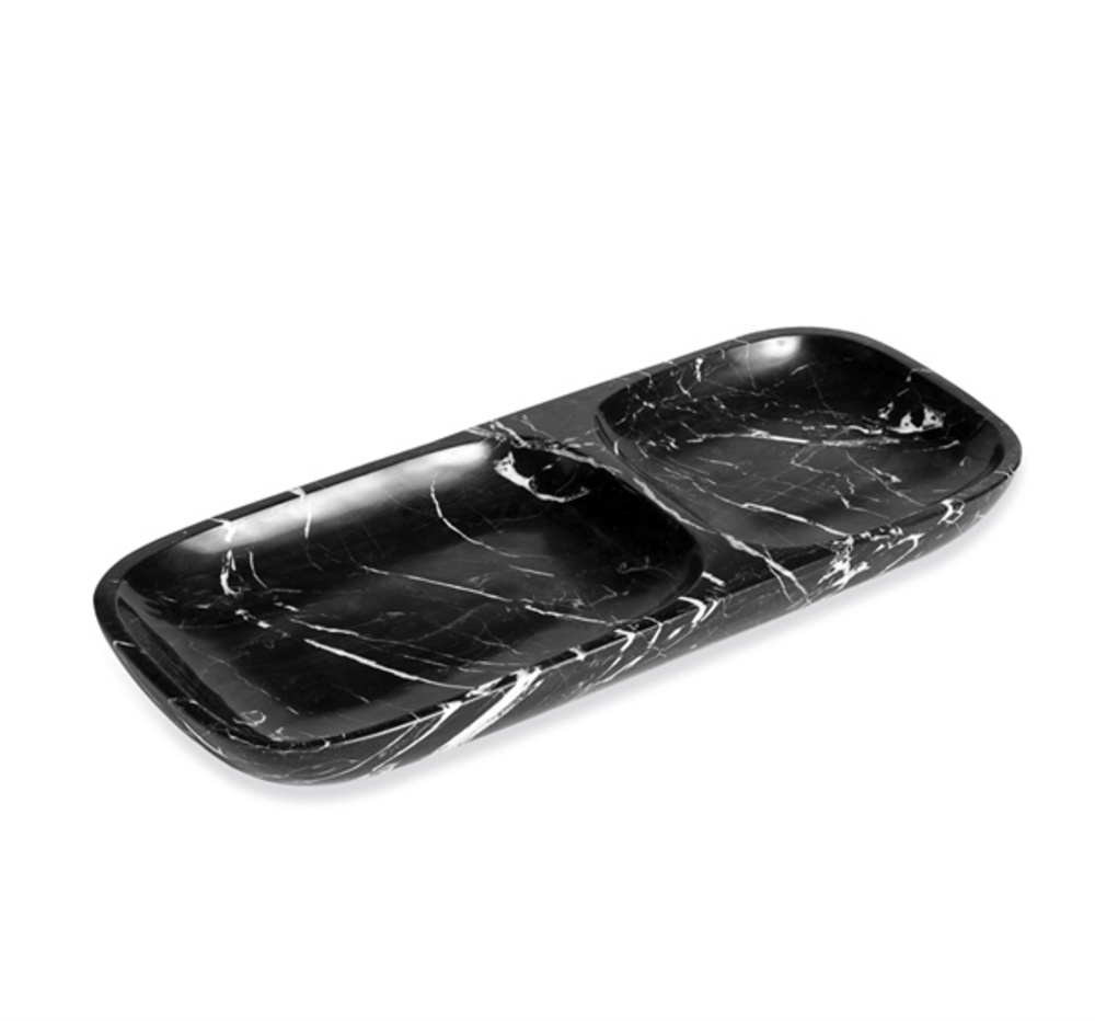 Interlude Home - Harlow Dual Section Tray, Black