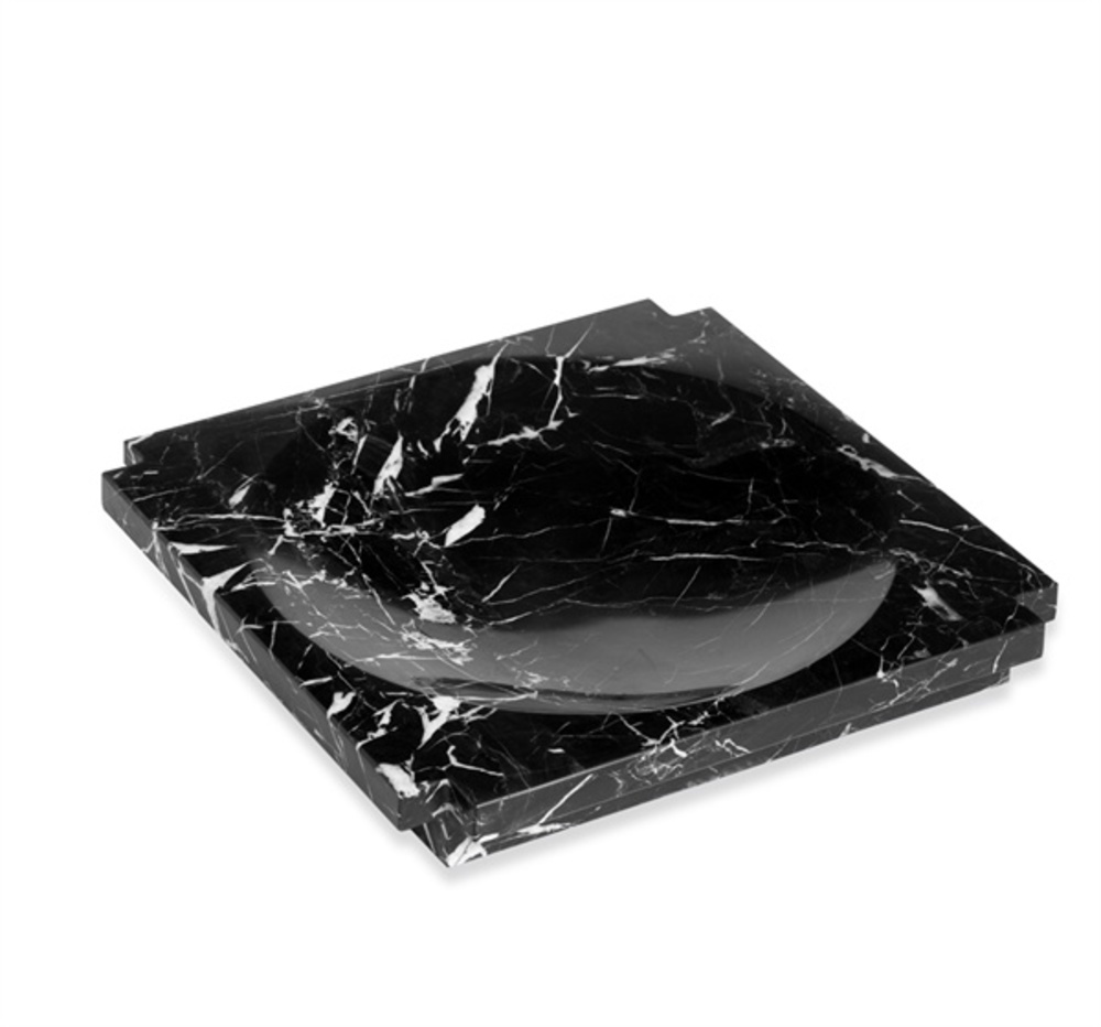 Interlude Home - Haven Large Marble Candy Dish, Black