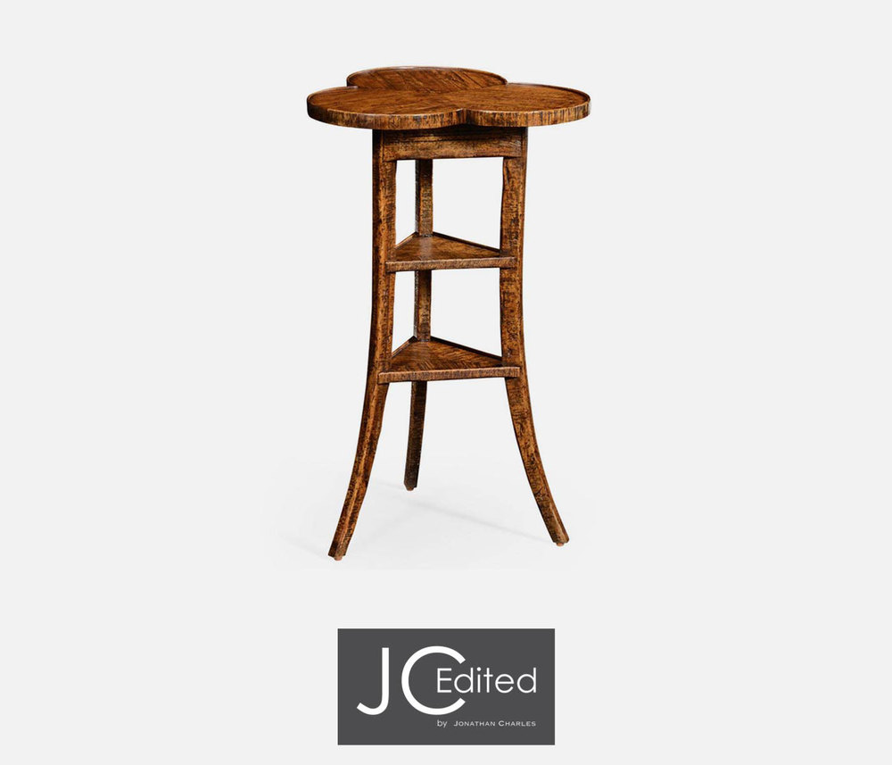 Jonathan Charles - Plank Walnut Trefoil Side Table