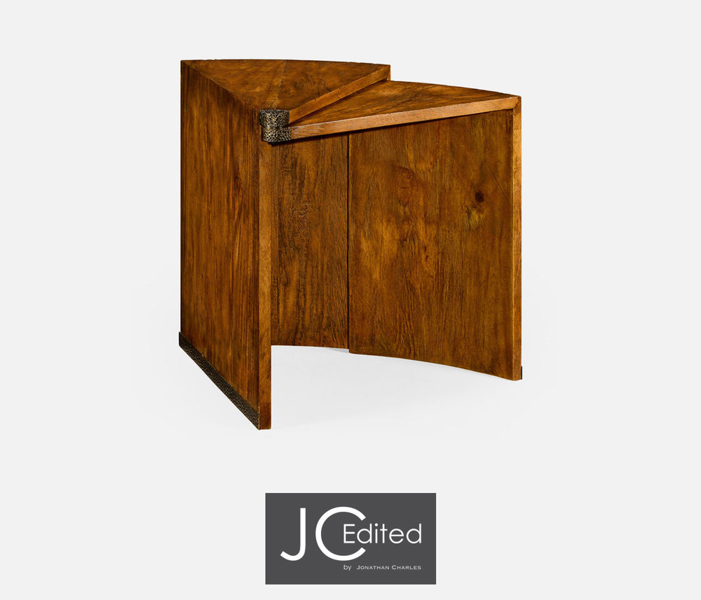 Jonathan Charles - Country Walnut Semicircular Rectracting Side Table