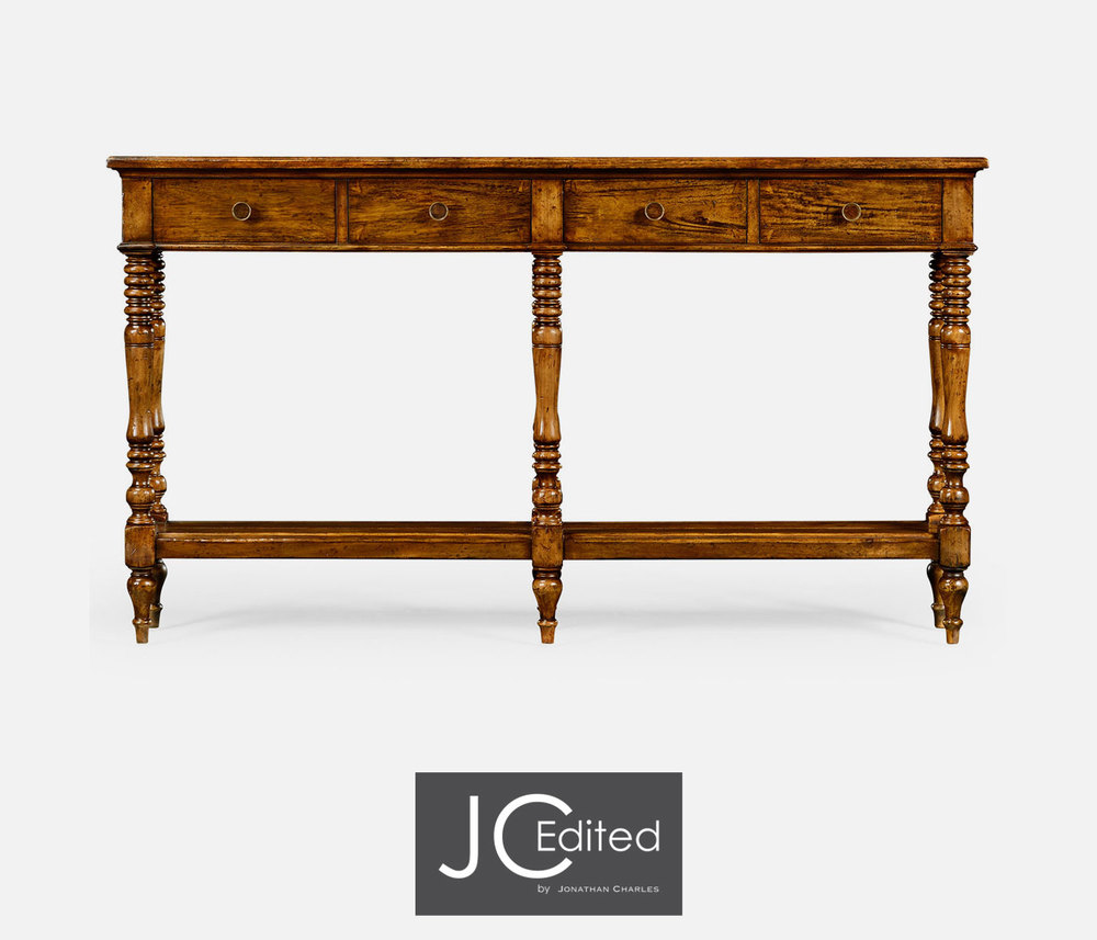 Jonathan Charles - Country Walnut Parquet Double Console Table