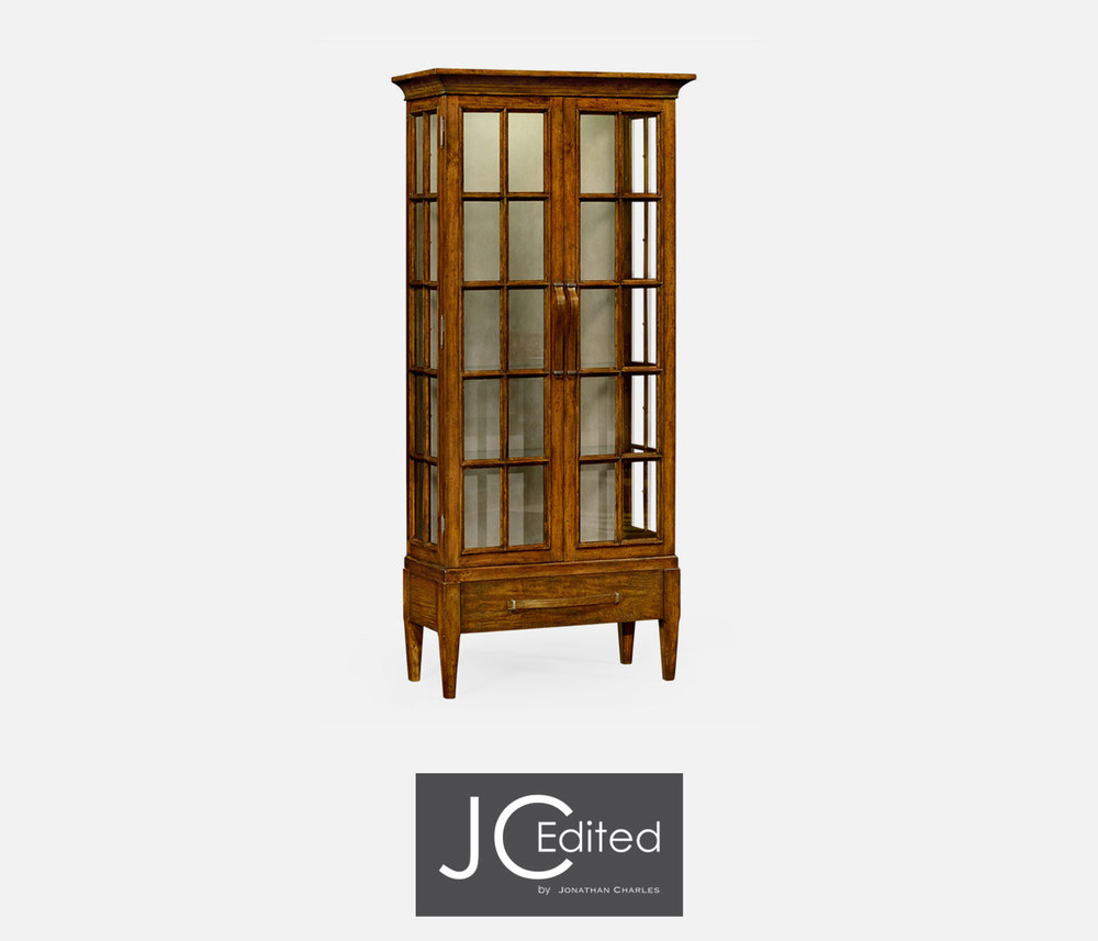 Jonathan Charles - Plank Country Walnut Tall Glazed Bookcase