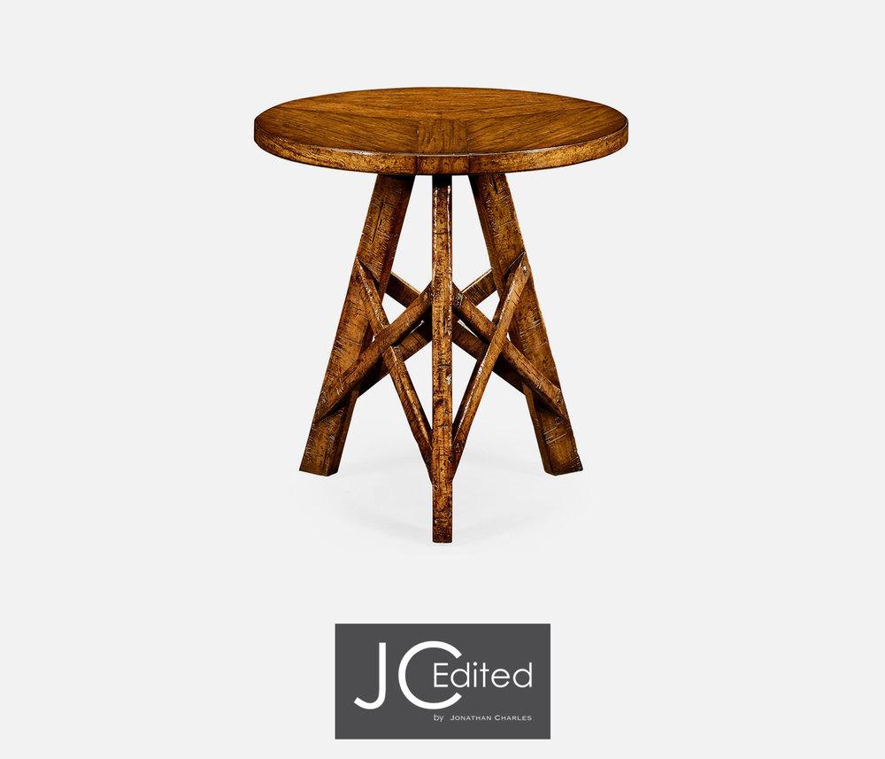 Jonathan Charles - Country Walnut Rustic Lamp Table