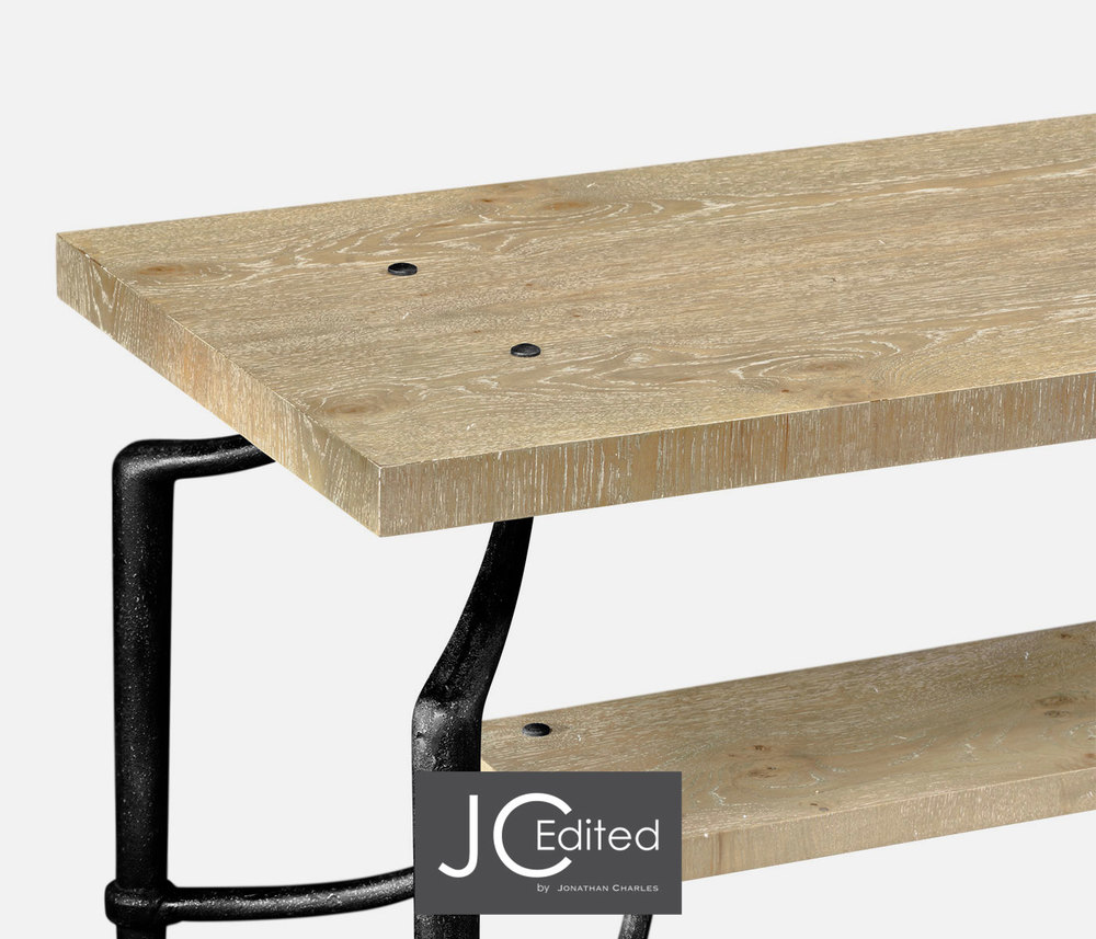 Jonathan Charles - Rectangular Console Table with Iron Base