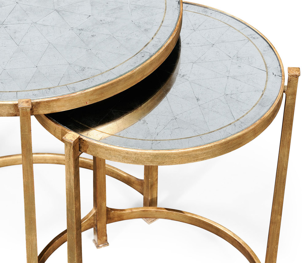 Jonathan Charles - Gilded Iron Round Nest of Two Tables