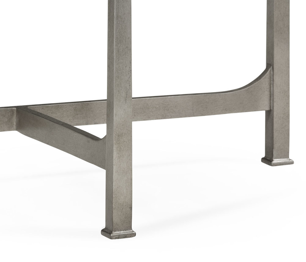 Jonathan Charles - Silver Iron Demilune Console