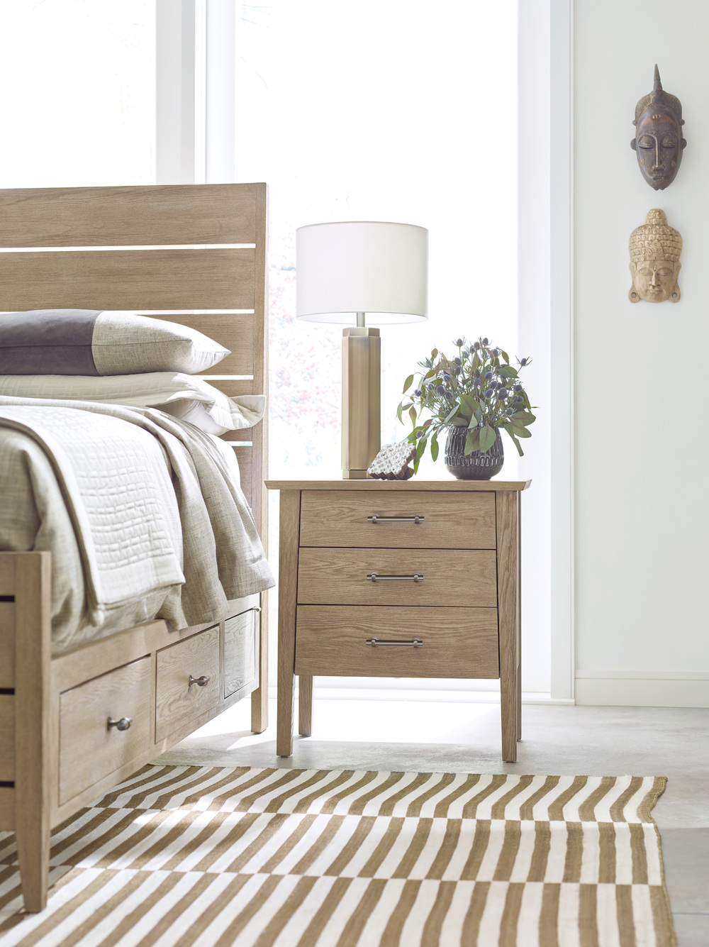 Kincaid Furniture - Incline Oak High Bed with Storage Rails