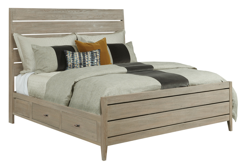 Kincaid Furniture - Incline Oak High Bed with Storage Rails