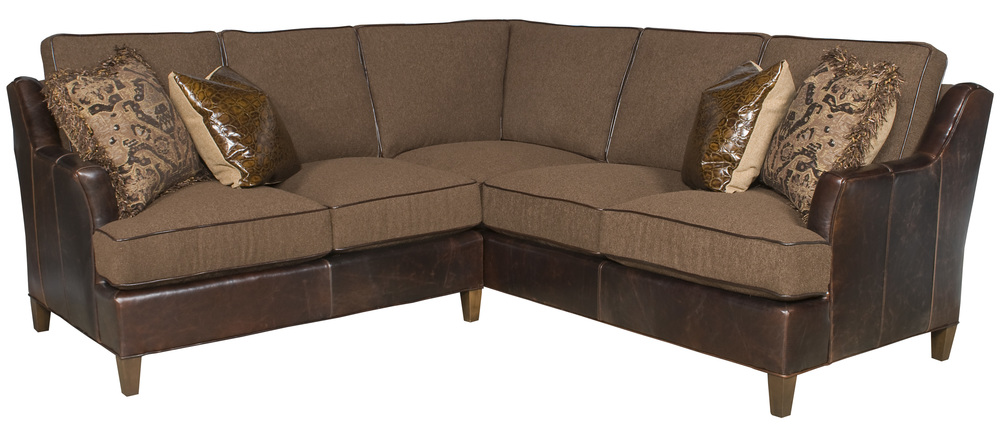 King Hickory - Melrose Two Piece Leather and Fabric Sectional