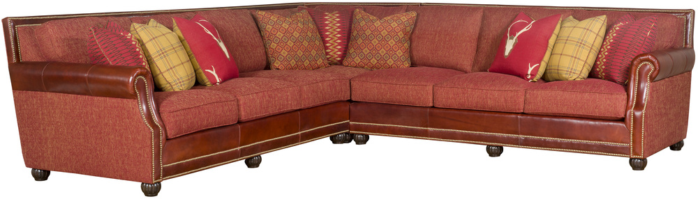 King Hickory - Julianna Three Piece Leather and Fabric Sectional