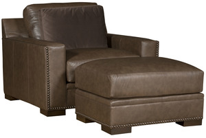 Thumbnail of King Hickory - California Leather Chair and a Half and Ottoman