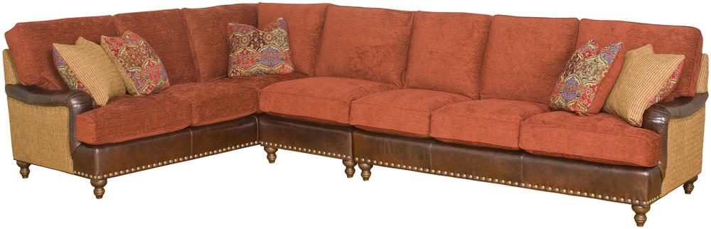 King Hickory - Chatham Three Piece Leather and Fabric Sectional