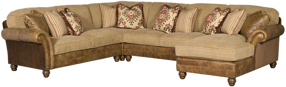 King Hickory - Chatham Four Piece Leather and Fabric Sectional with Chaise