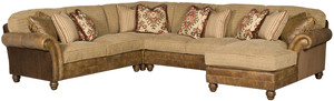 Thumbnail of King Hickory - Chatham Four Piece Leather and Fabric Sectional with Chaise