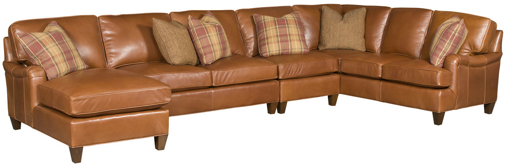 King Hickory - Chatham Four Piece Leather Sectional with Chaise