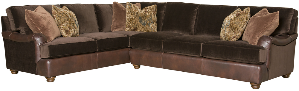 King Hickory - Henson Two Piece Leather and Fabric Sectional