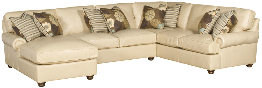 King Hickory - Henson Three Piece Leather Sectional with Chaise