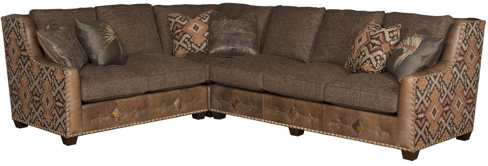King Hickory - Drake Three Piece Leather and Fabric Sectional