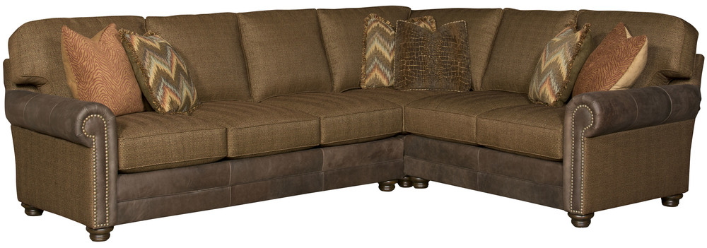 King Hickory - Winston Three Piece Leather and Fabric Sectional