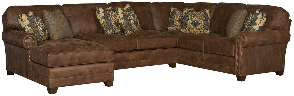 King Hickory - Winston Three Piece Leather Sectional with Chaise