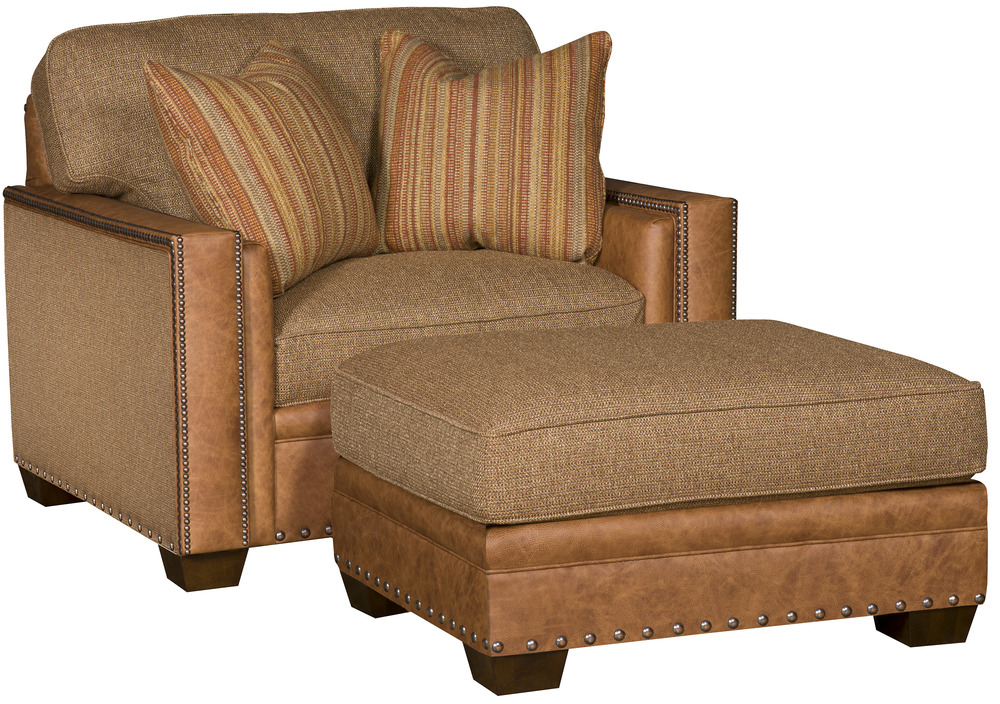 King Hickory - Reno Leather and Fabric Chair and a Half and Ottoman