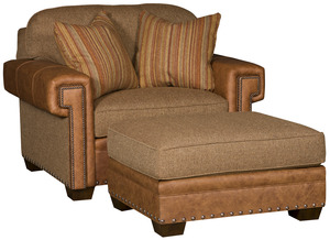 Thumbnail of King Hickory - Reno Leather and Fabric Chair and a Half and Ottoman