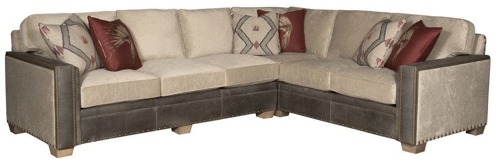 King Hickory - Reno Leather and Fabric Sectional