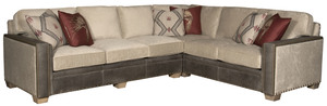Thumbnail of King Hickory - Reno Leather and Fabric Sectional