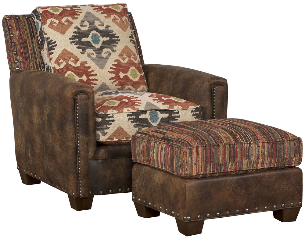 King Hickory - Steamboat Leather and Fabric Chair and Ottoman