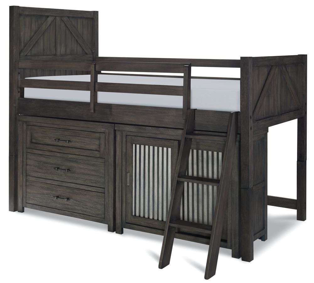 Legacy Classic Furniture - Twin Mid Loft bed with Single Dresser and Sliding Door Chest
