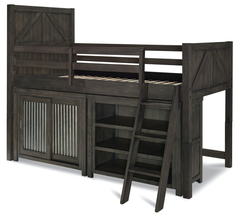 Legacy Classic Furniture - Twin Mid Loft Bed with Sliding Door Chest and Bookcase