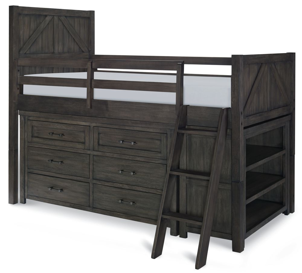 Legacy Classic Furniture - Twin Mid Loft Bed with Dresser and Bookcase