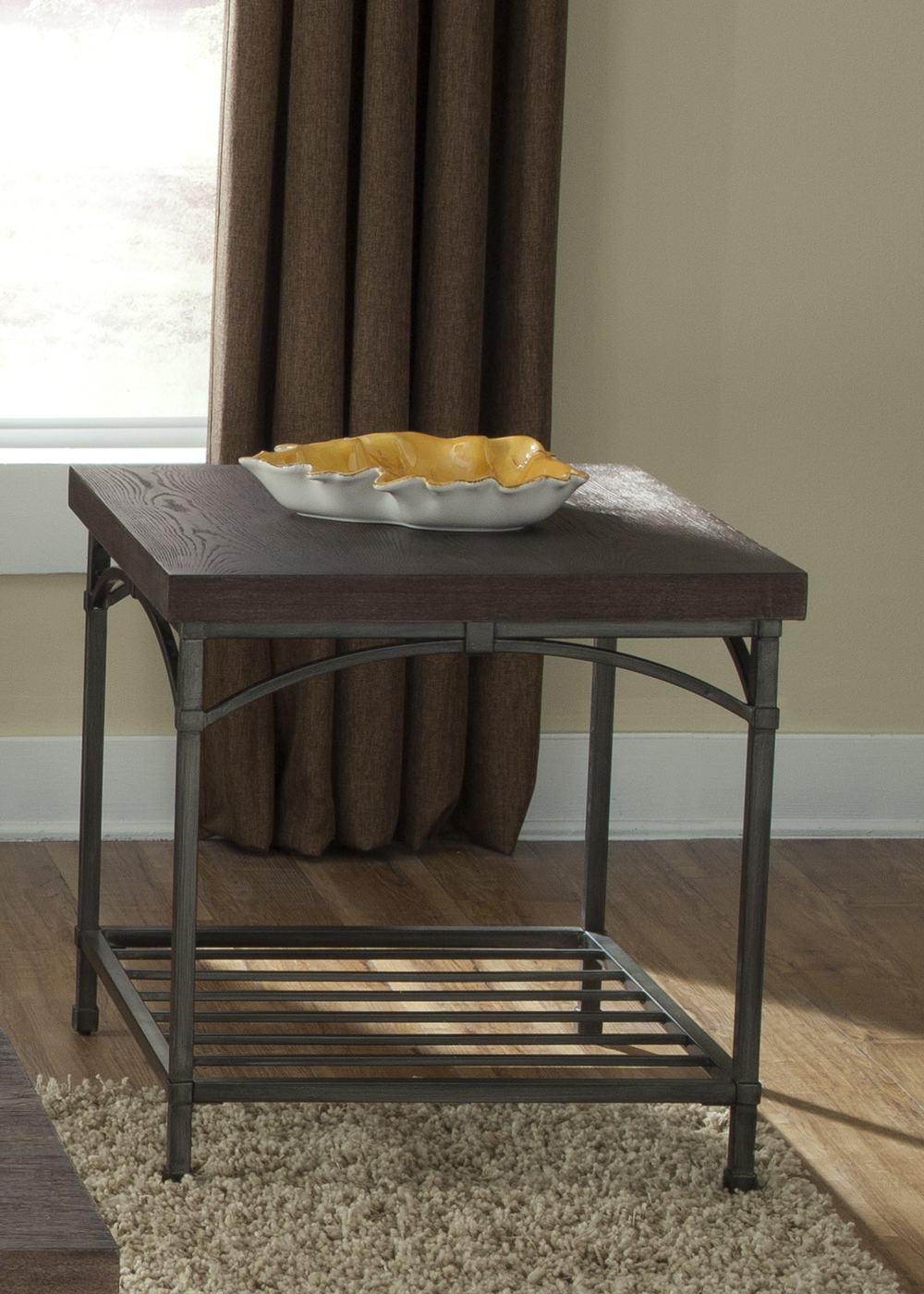 Liberty Furniture - Rustic Metal End Table w/ Storage Shelf