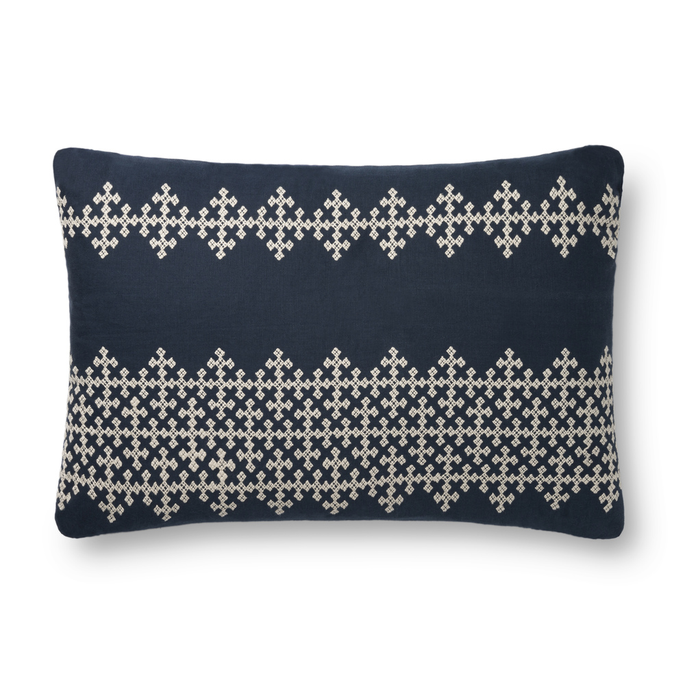 Loloi Rugs - Navy and Ivory Pillow