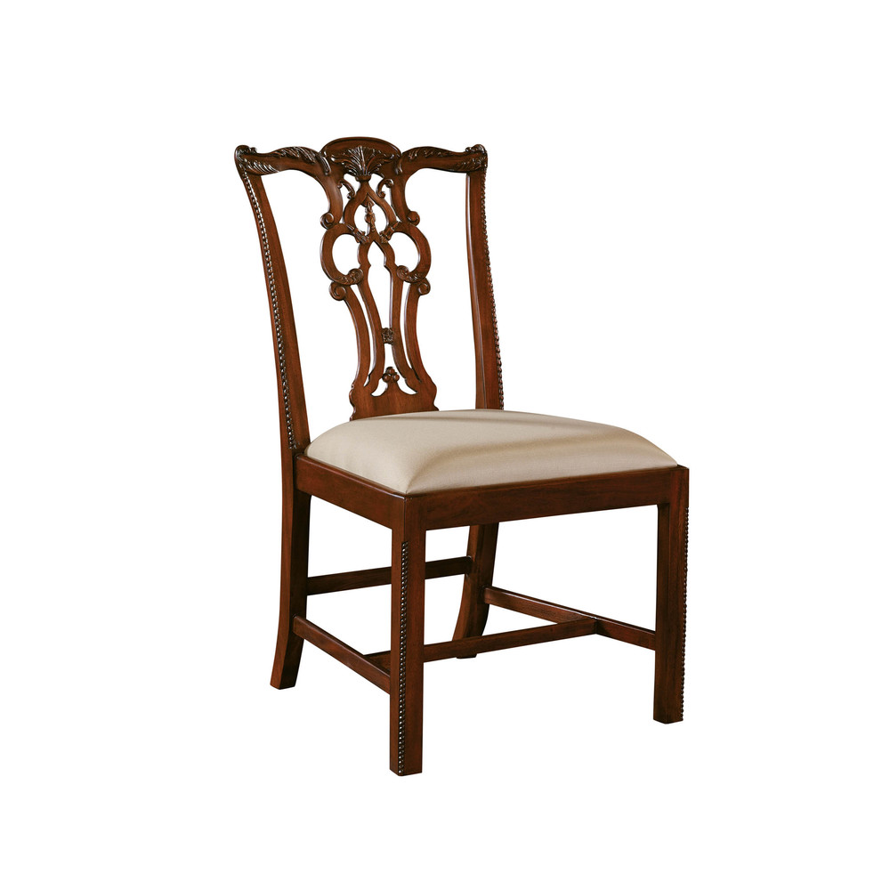 Maitland-Smith - Carved Regency Mahogany Chippendale Straight Leg Side Chair