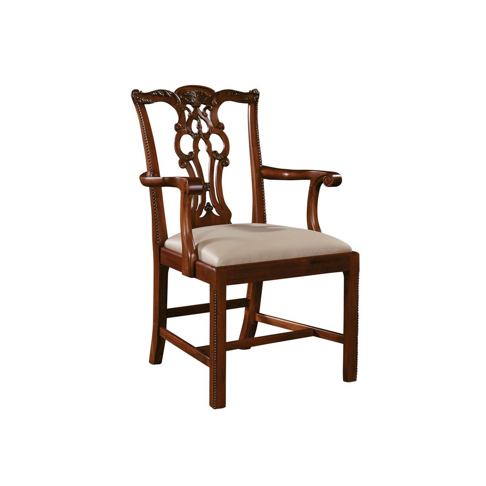 Maitland-Smith - Carved Regency Mahogany Chippendale Straight Leg Arm Chair