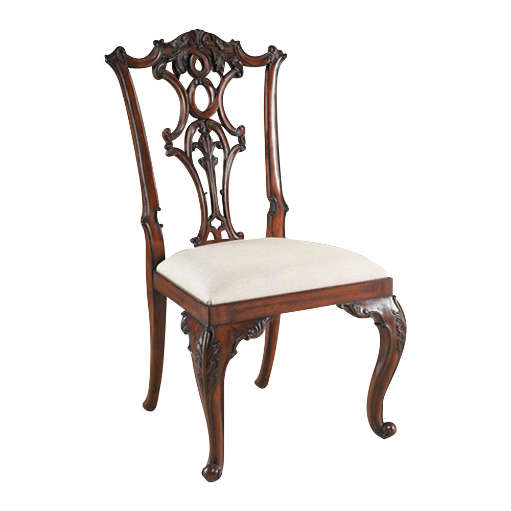 Maitland-Smith - Carved Aged Regency Mahogany Chippendale Side Chair