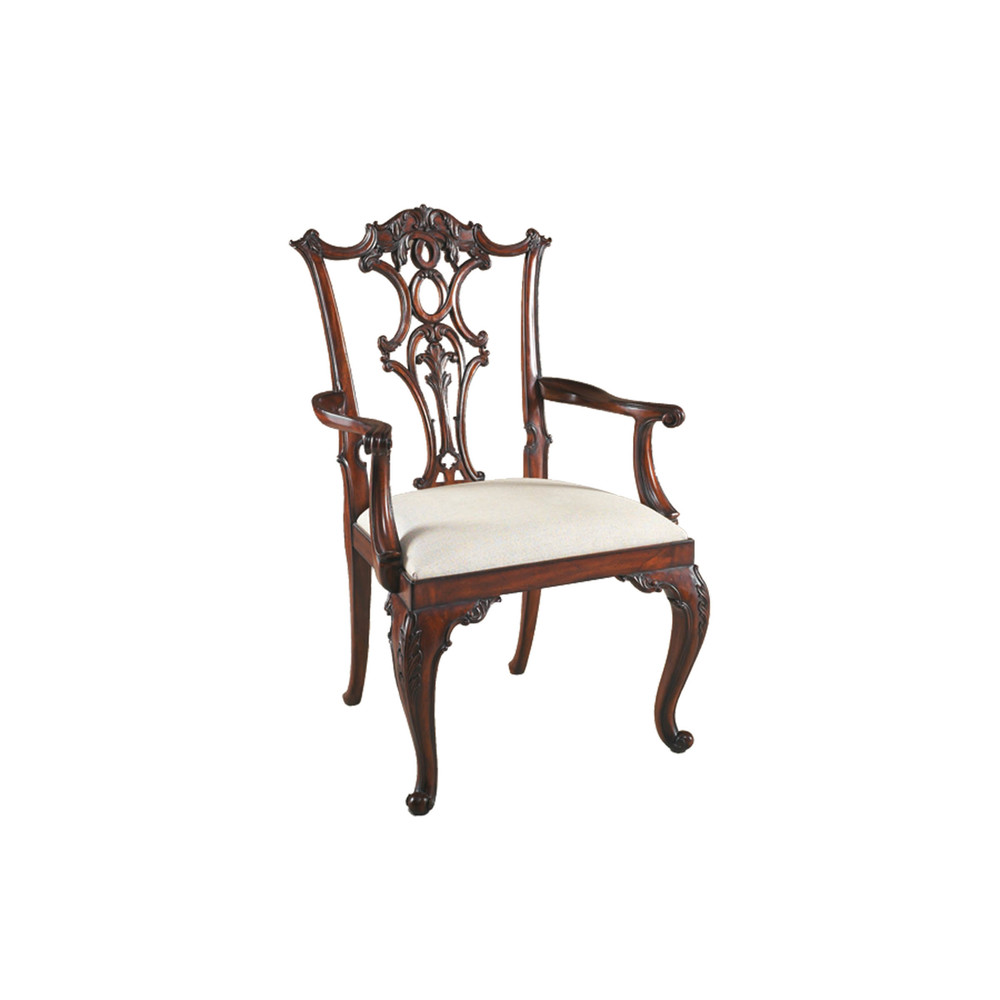 Maitland-Smith - Carved Aged Regency Mahogany Chippendale Arm Chair