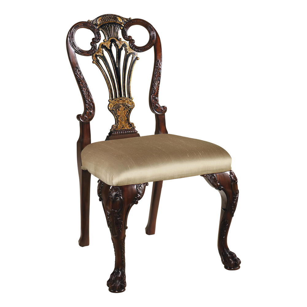 Maitland-Smith - Carved Antique Mahogany and Black Chinoiserie Side Chair