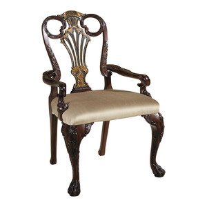 Thumbnail of Maitland-Smith - Carved Antique Mahogany and Black Chinoiserie Arm Chair