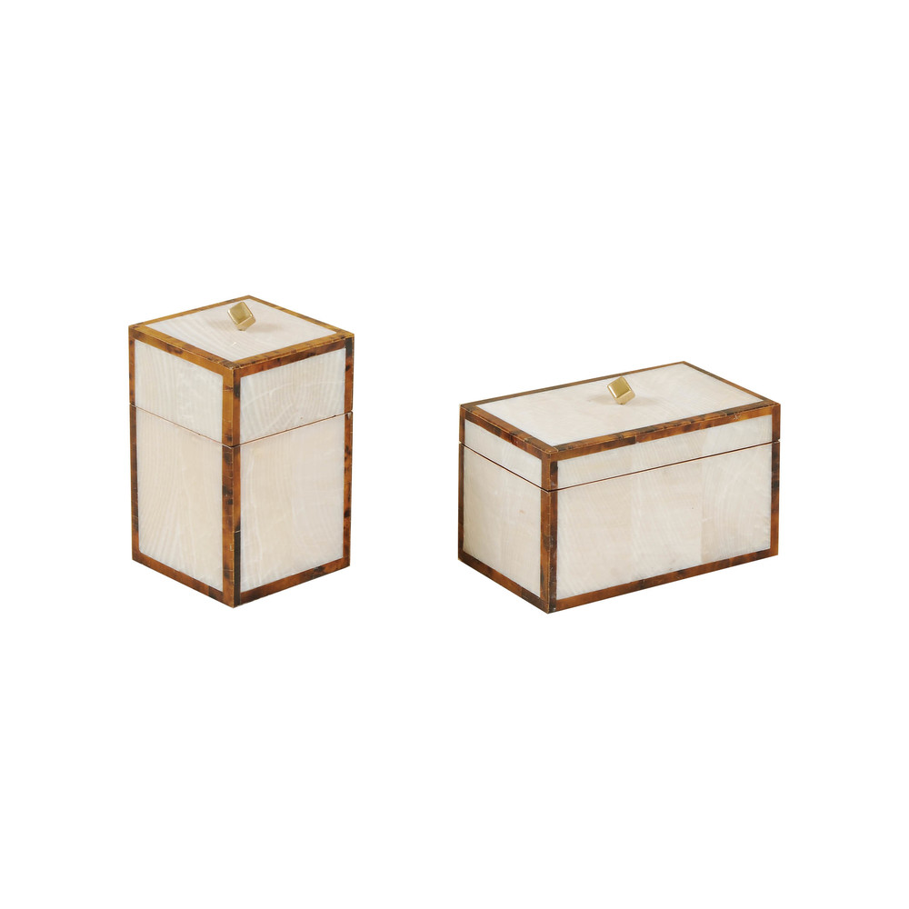 Maitland-Smith - Fossil Clam Stone Inlaid Boxes