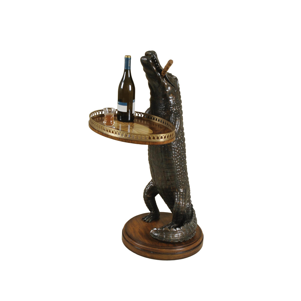 Maitland-Smith - Verdigris Cast Resin Alligator with Marquetry Tray