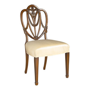 Thumbnail of Maitland-Smith - Carved Polished Mahogany Heart Shaped Shield Back Side Chair