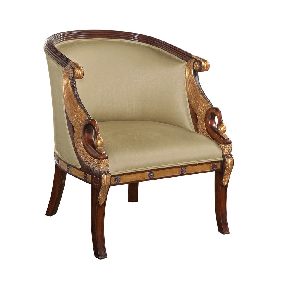 Maitland-Smith - Hand Carved Mahogany Empire Arm Chair