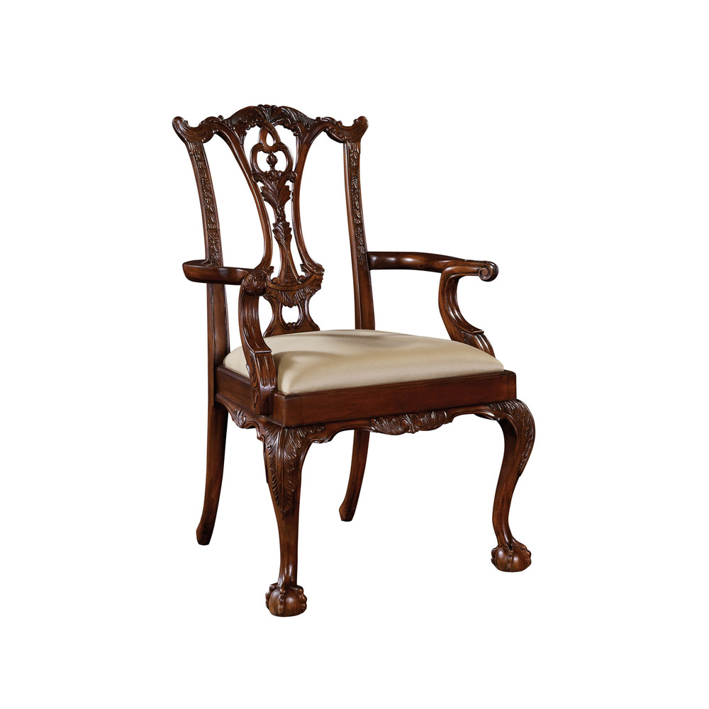 Maitland-Smith - Carved Polished Mahogany Chippendale Arm Chair
